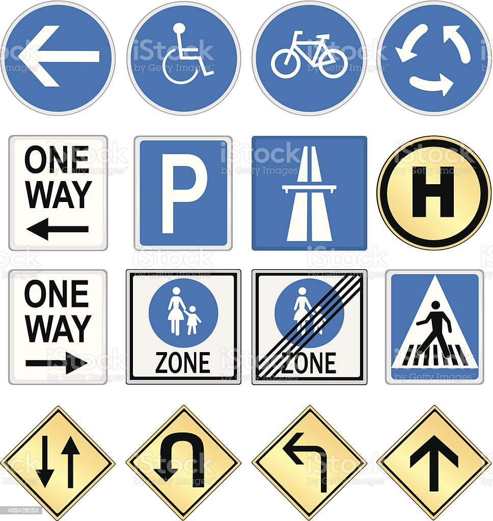 Collection of Road Signs vector art illustration