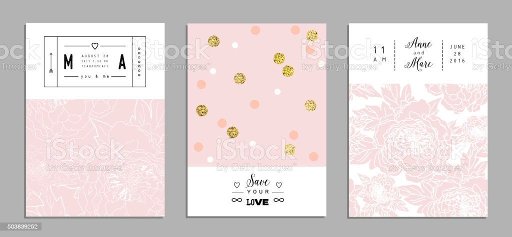 Collection of romantic invitations with gold glitter texture. vector art illustration