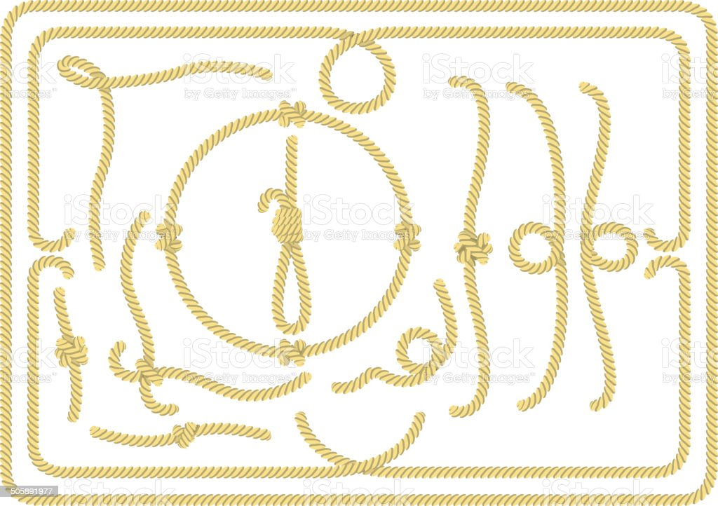 Collection of rope design elements vector art illustration