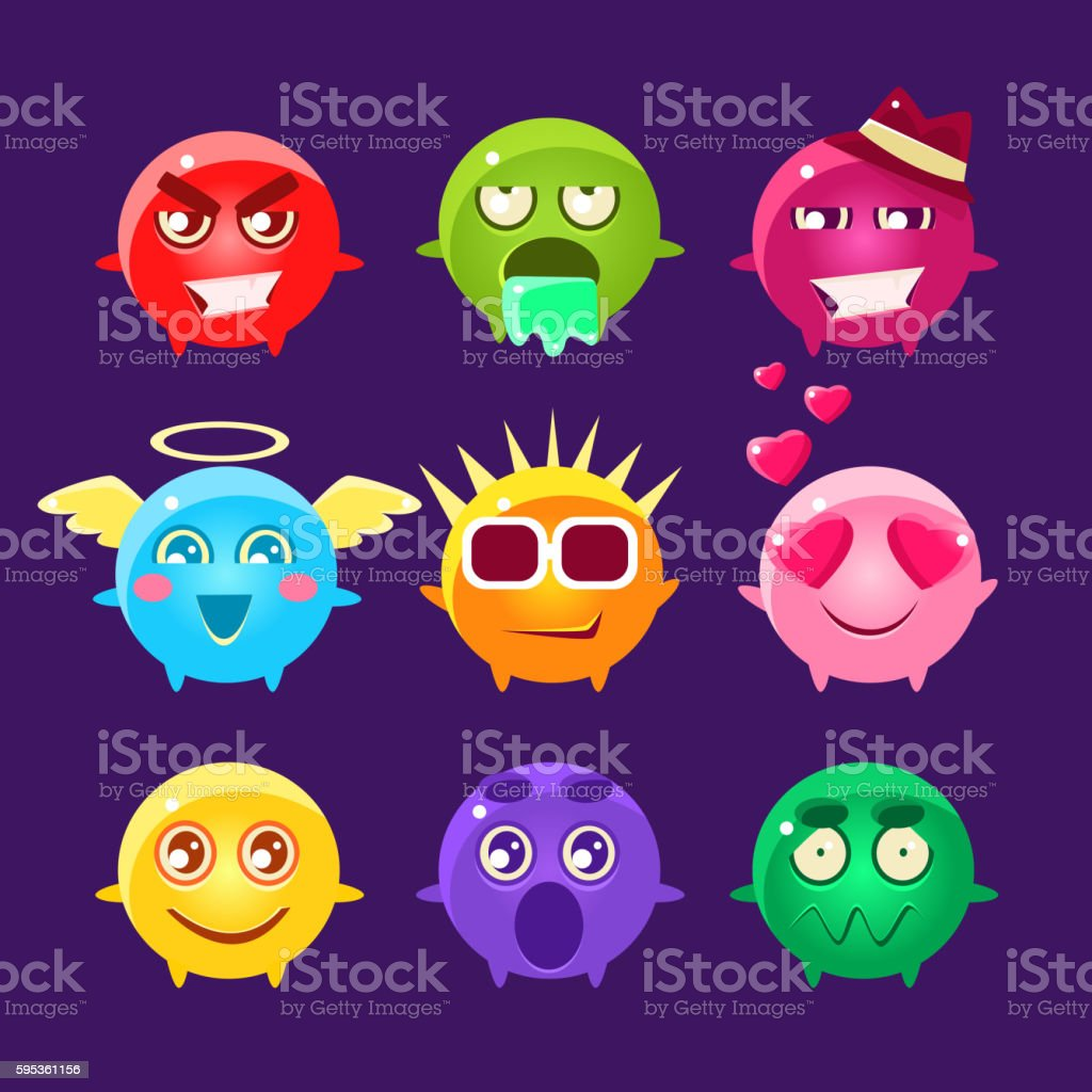 Collection Of Round Character Emoji Icons vector art illustration