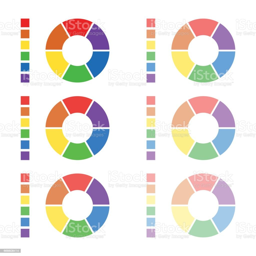 Collection of rounded diagrams with the spectral colors isolated on white background, infographic elements, circular spectrum wheels vector art illustration