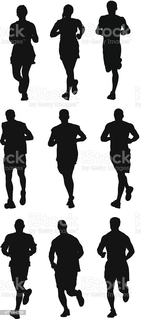 Collection of runners vector art illustration