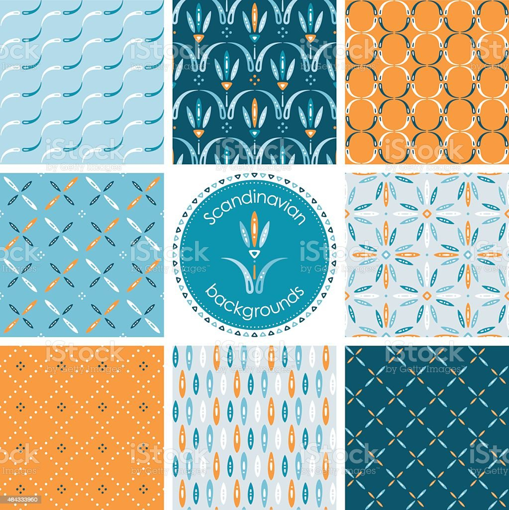 Collection of scandinavian design patterns vector art illustration