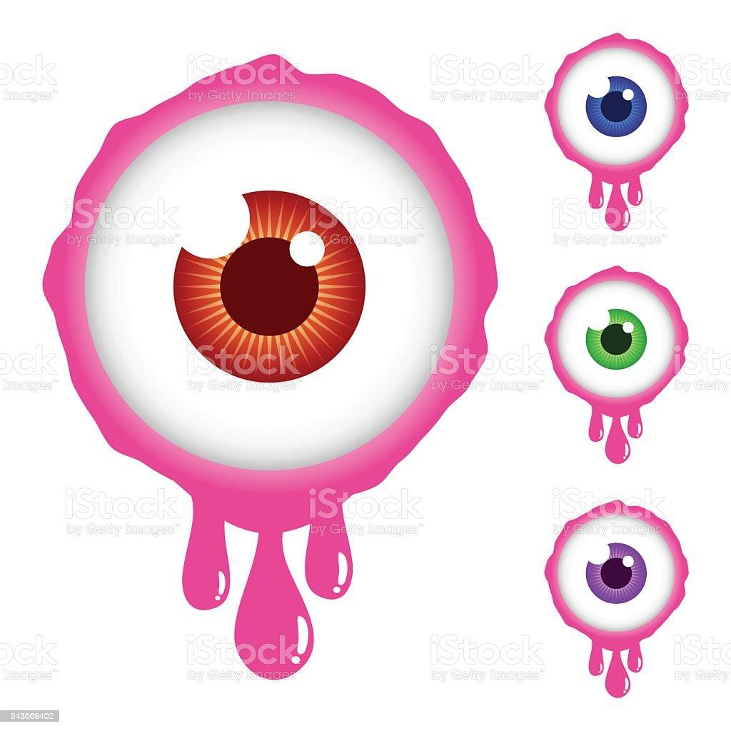 Collection of Scary Eyeball Cartoon vector art illustration