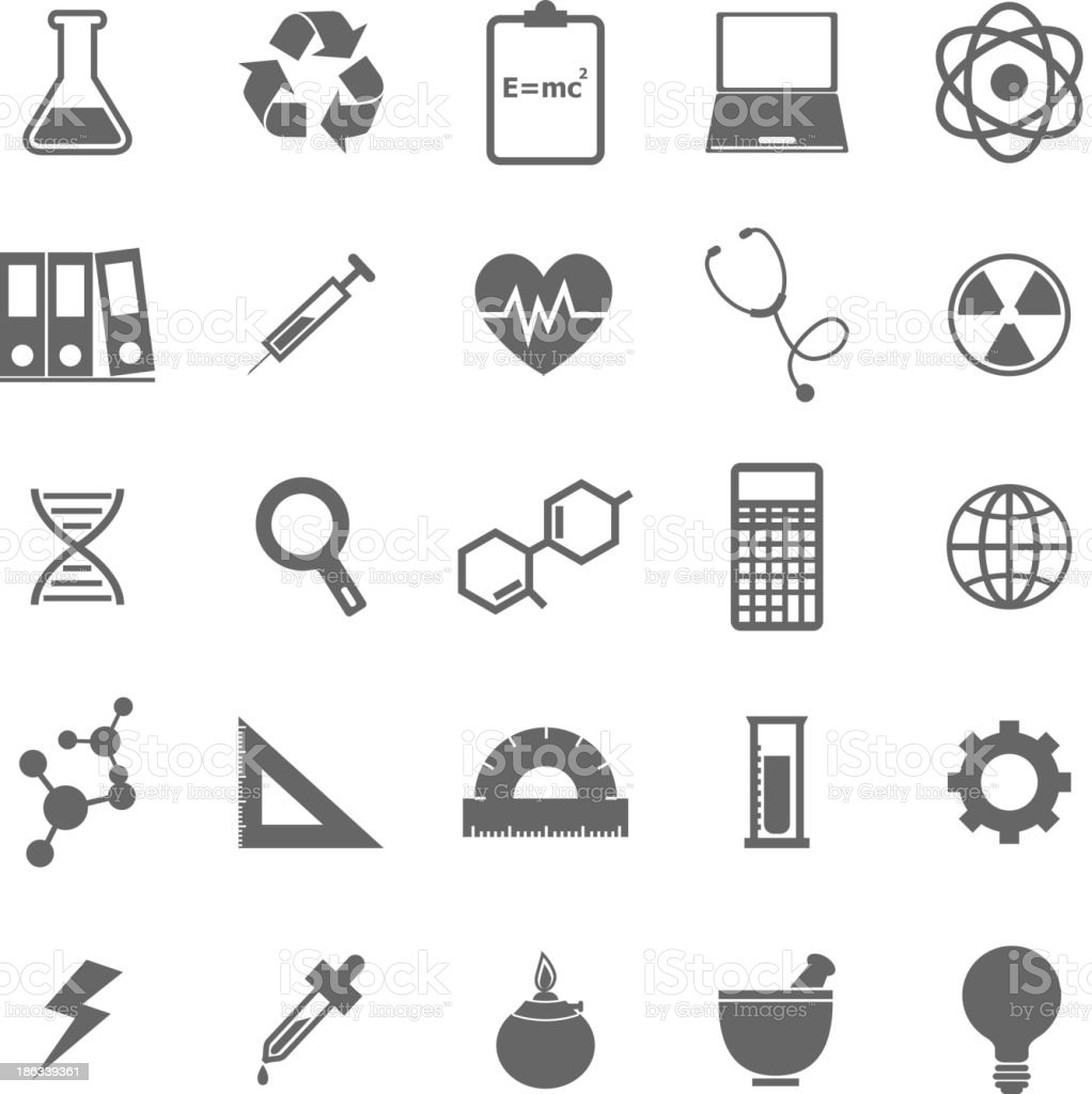 Collection of science and environmental flat icons royalty-free stock vector art