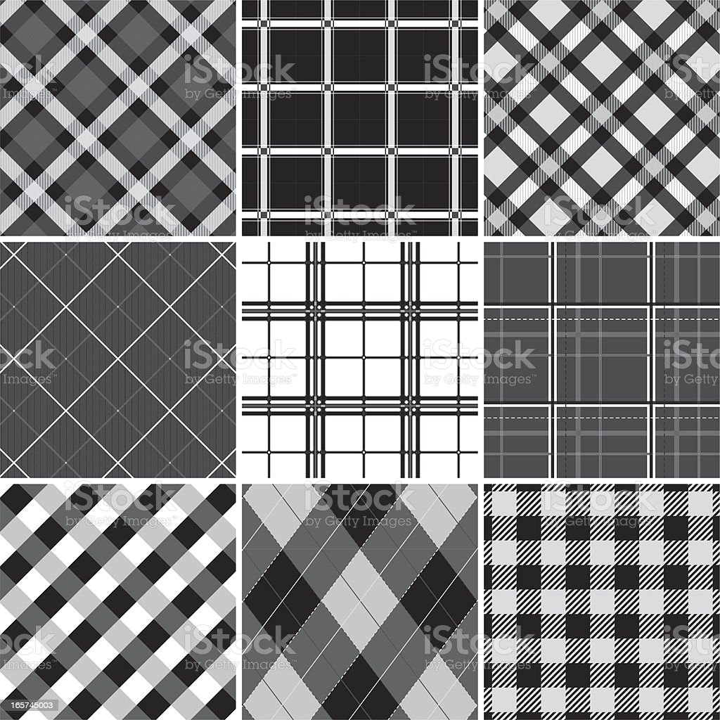 Collection of seamless black &  white checked cotton pattern vector art illustration