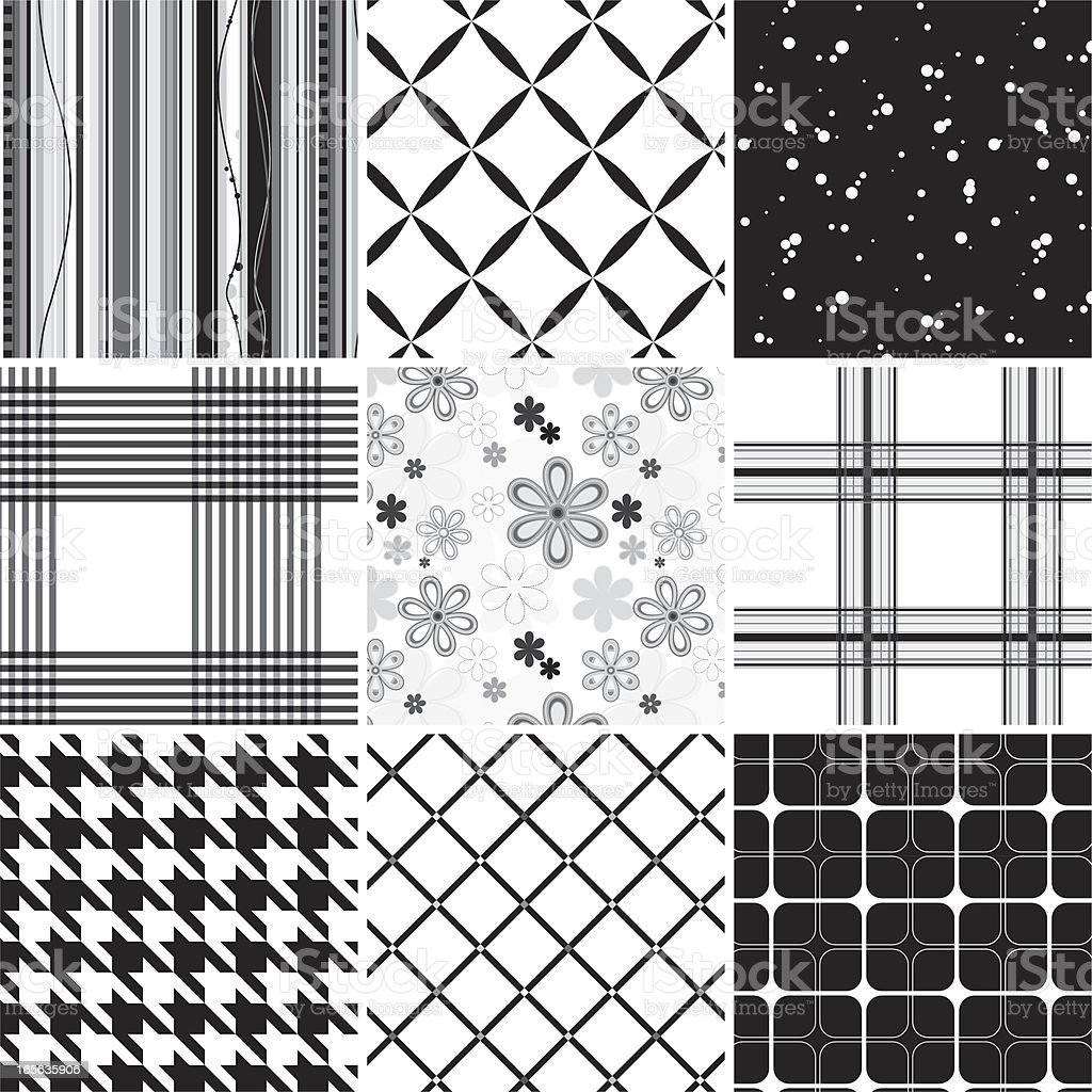 Collection of seamless black & white pattern royalty-free stock vector art