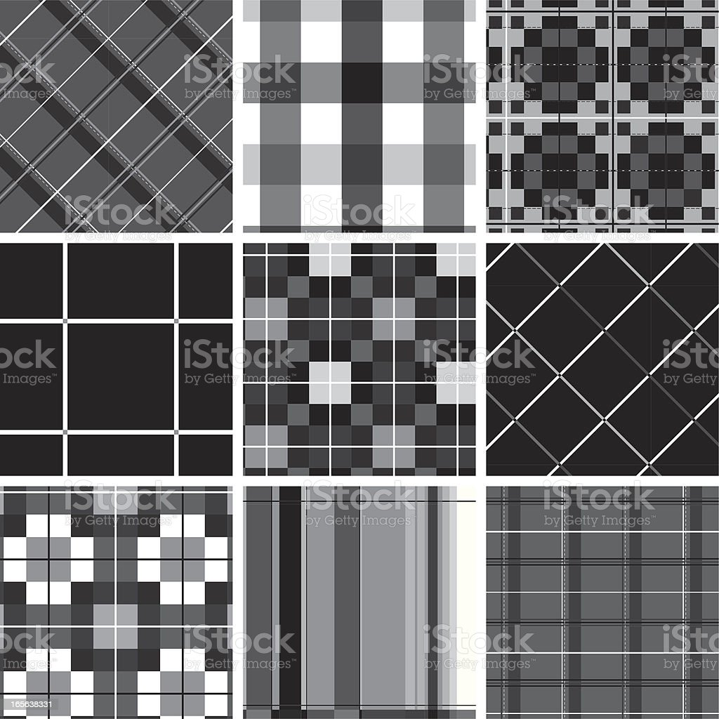 Collection of seamless checked cotton pattern vector art illustration
