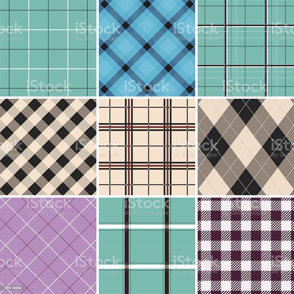 Collection of seamless checked cotton pattern royalty-free stock vector art