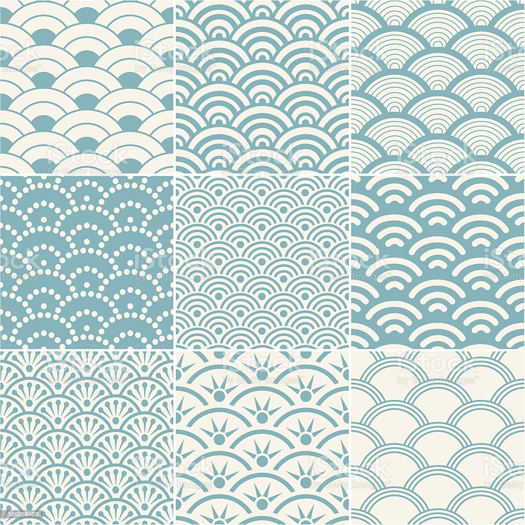 Collection of seamless ocean wave patterns vector art illustration