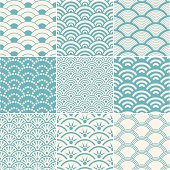 Collection of seamless ocean wave patterns