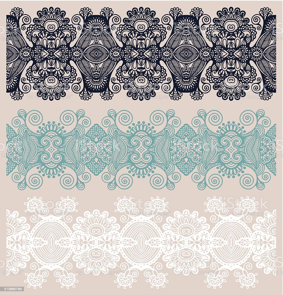 collection of seamless ornamental floral stripes vector art illustration