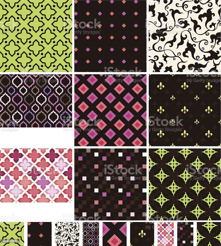 Collection of seamless textile/wallpaper pattern royalty-free stock vector art