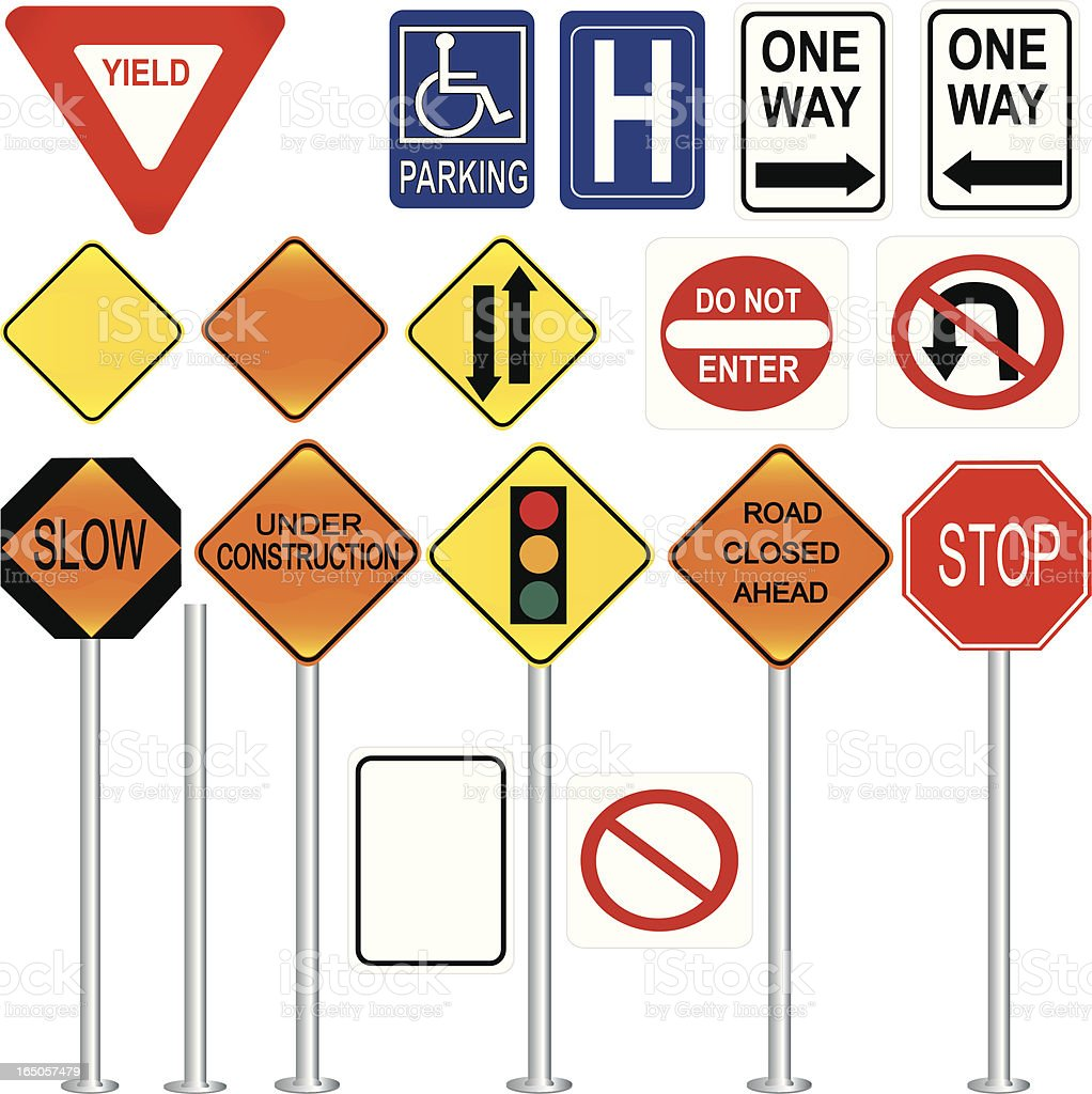 Collection of seventeen various traffic control signs vector art illustration