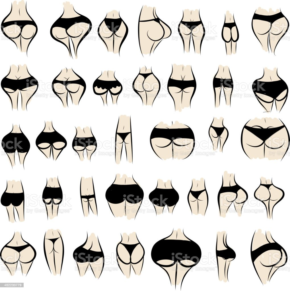 Collection of sexy female buttocks in panties royalty-free stock vector art
