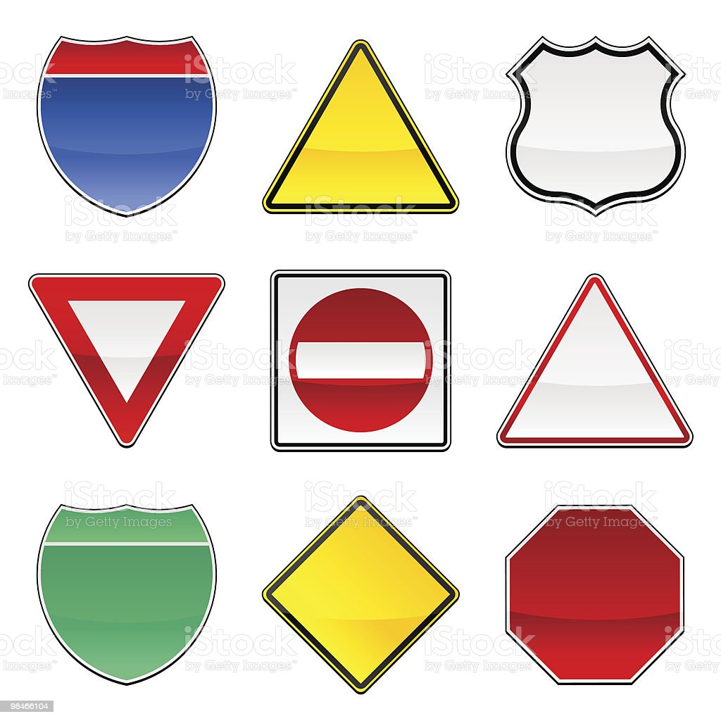 collection of shiny road signs vector art illustration