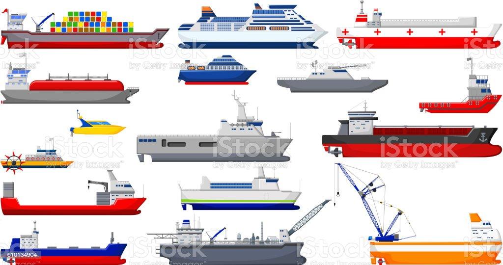 collection of ship cartoon for you design vector art illustration