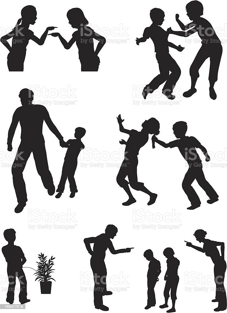 Collection of silhouettes of arguing children vector art illustration