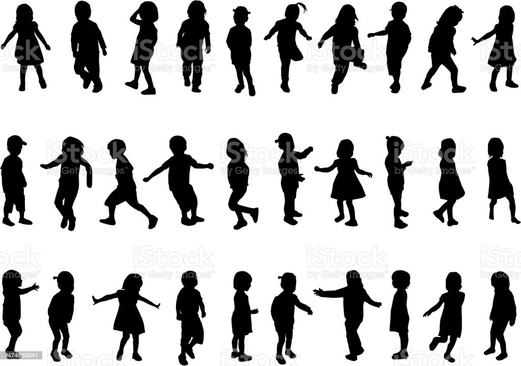 Collection of silhouettes of children vector art illustration