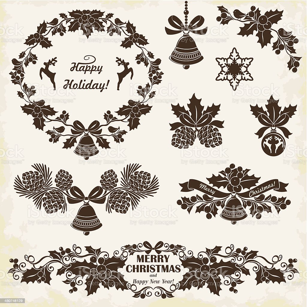 Collection of silhouettes vintage Christmas decorations, set 3. vector art illustration