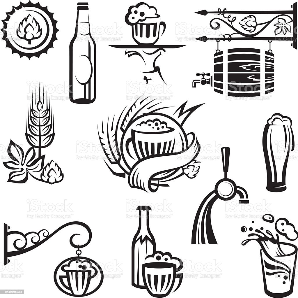 Collection of simple black line beer related drawings icons royalty-free stock vector art