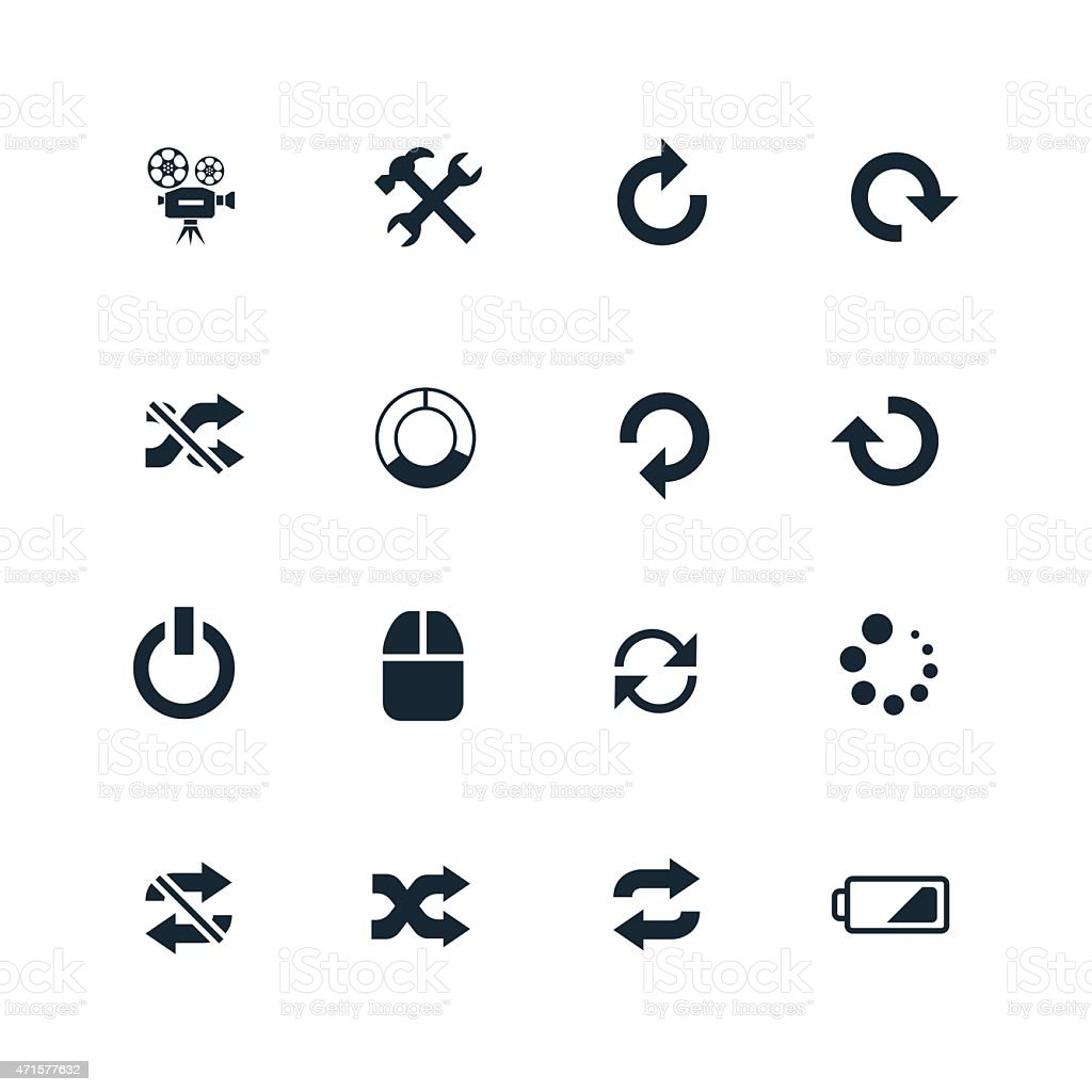 Collection of sixteen black DJ icons vector art illustration