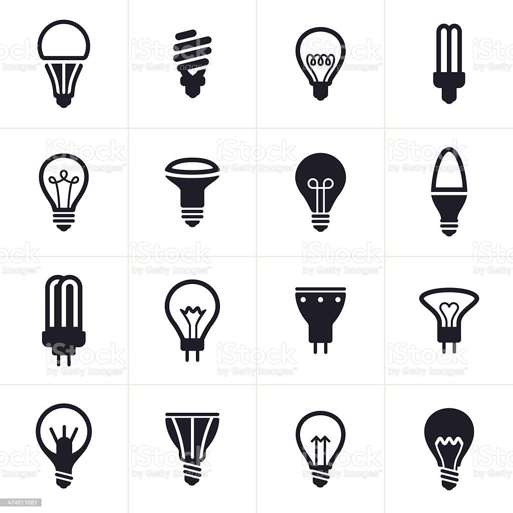 Collection of sixteen black light bulb symbols vector art illustration