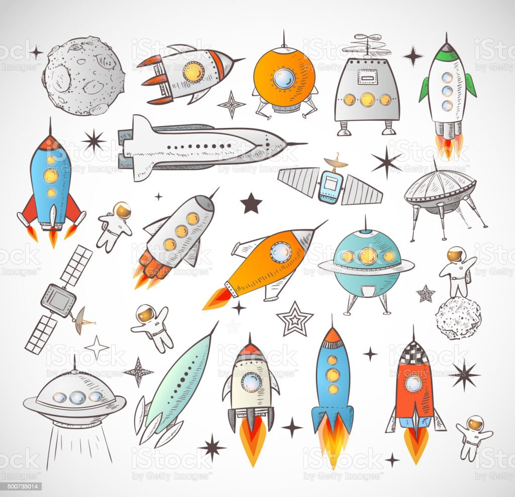Collection of sketchy space objects isolated on white background.. vector art illustration