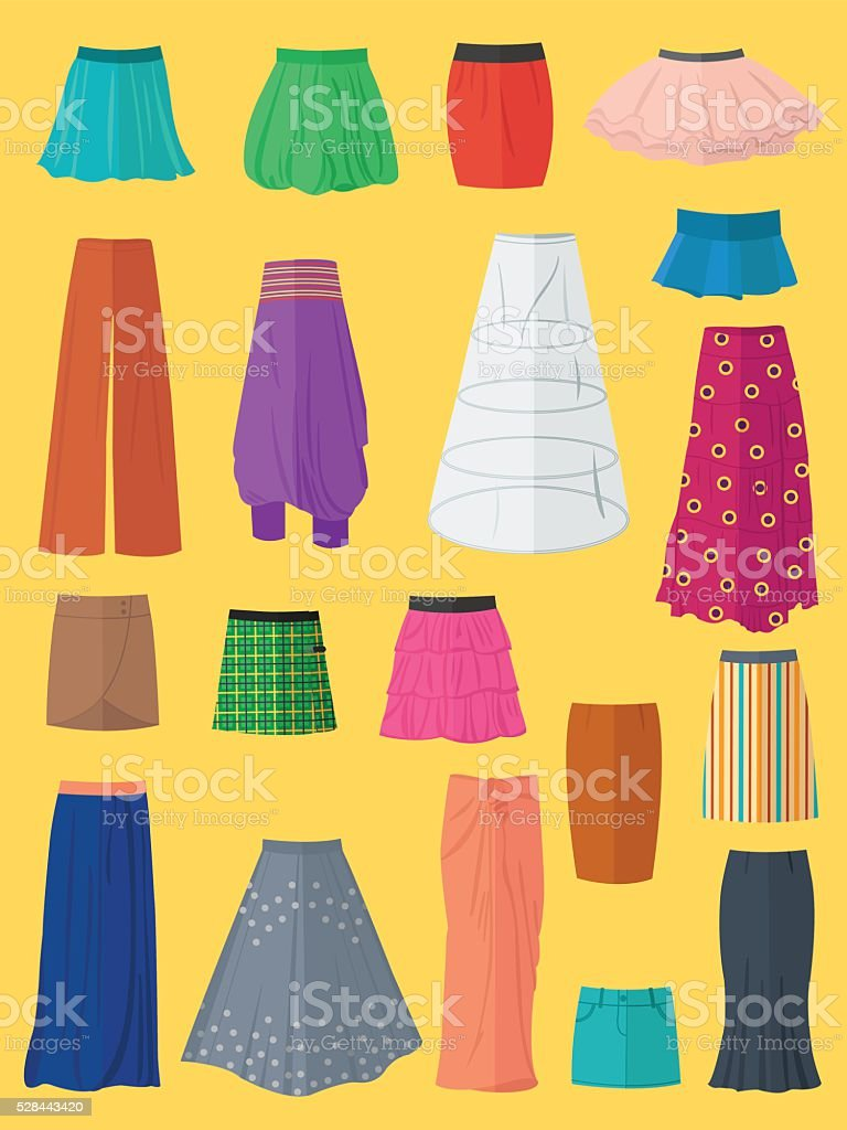 Collection of skirts vector art illustration