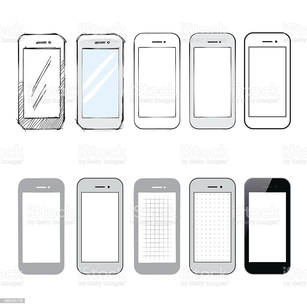 Collection of smartphone designs and mockups vector art illustration