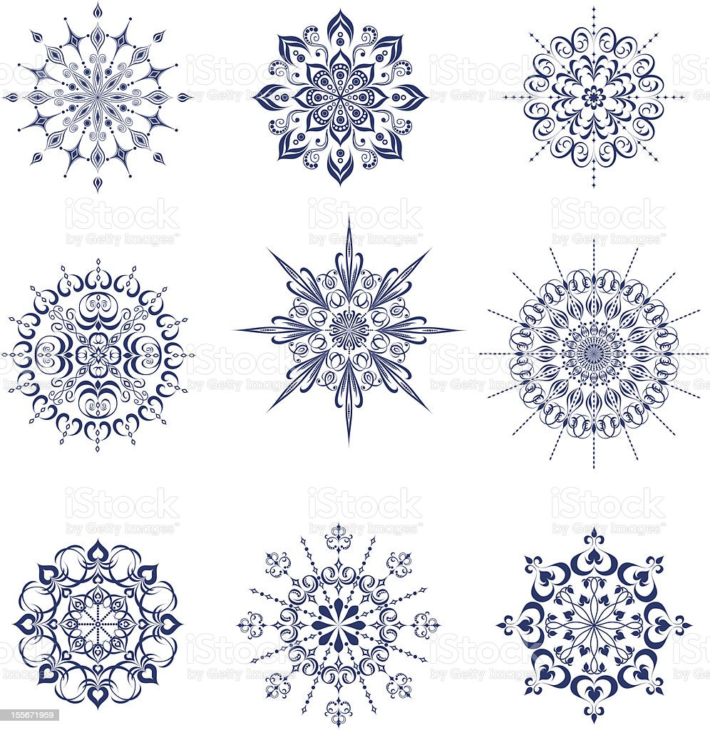 Collection of snowflakes vector art illustration