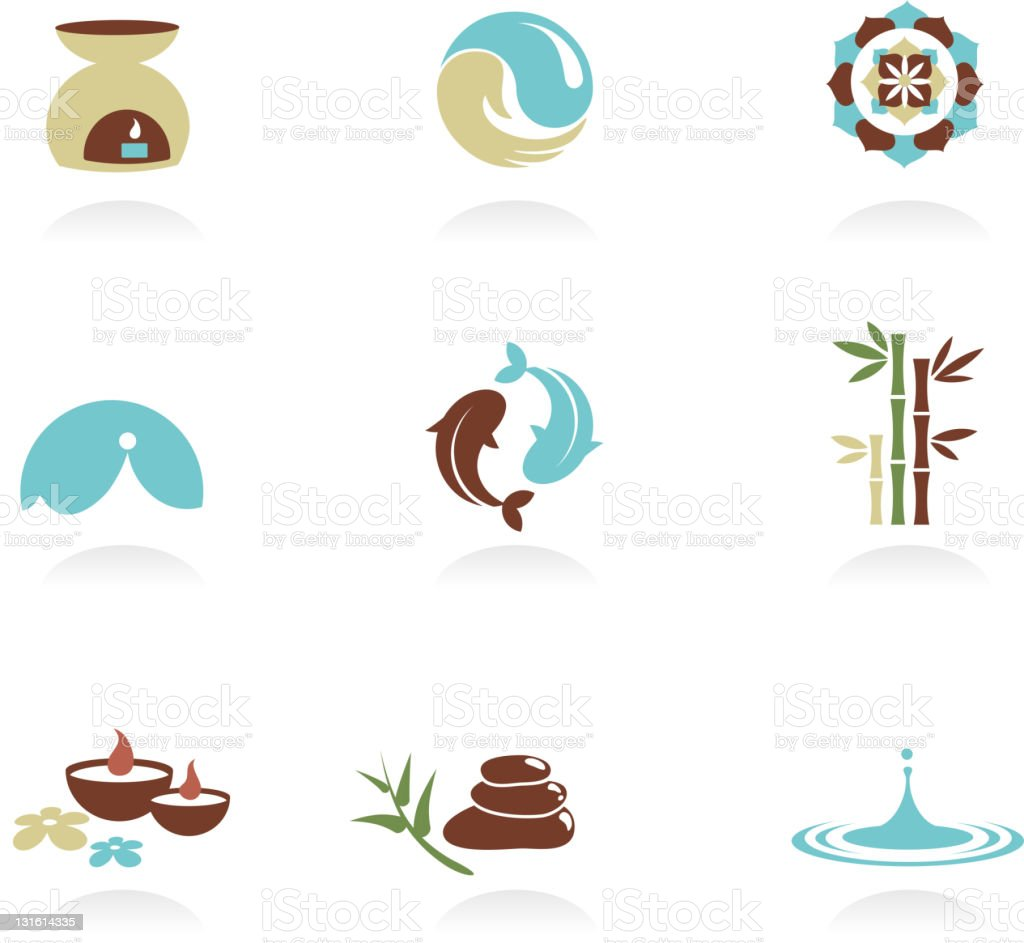 Collection of spa icons and symbols vector art illustration