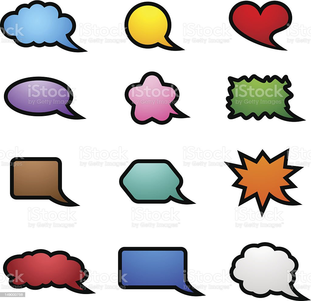 Collection of speech bubbles royalty-free stock vector art