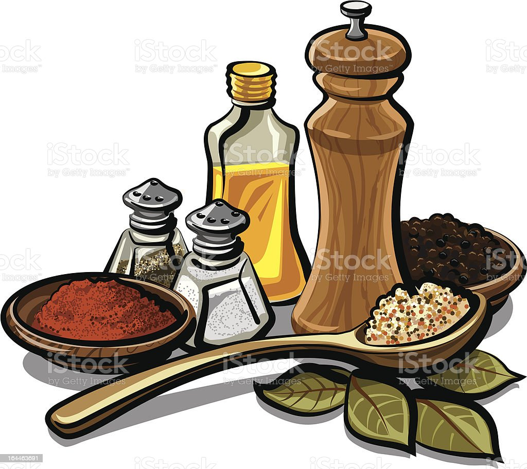 Collection of spices and flavorings vector art illustration
