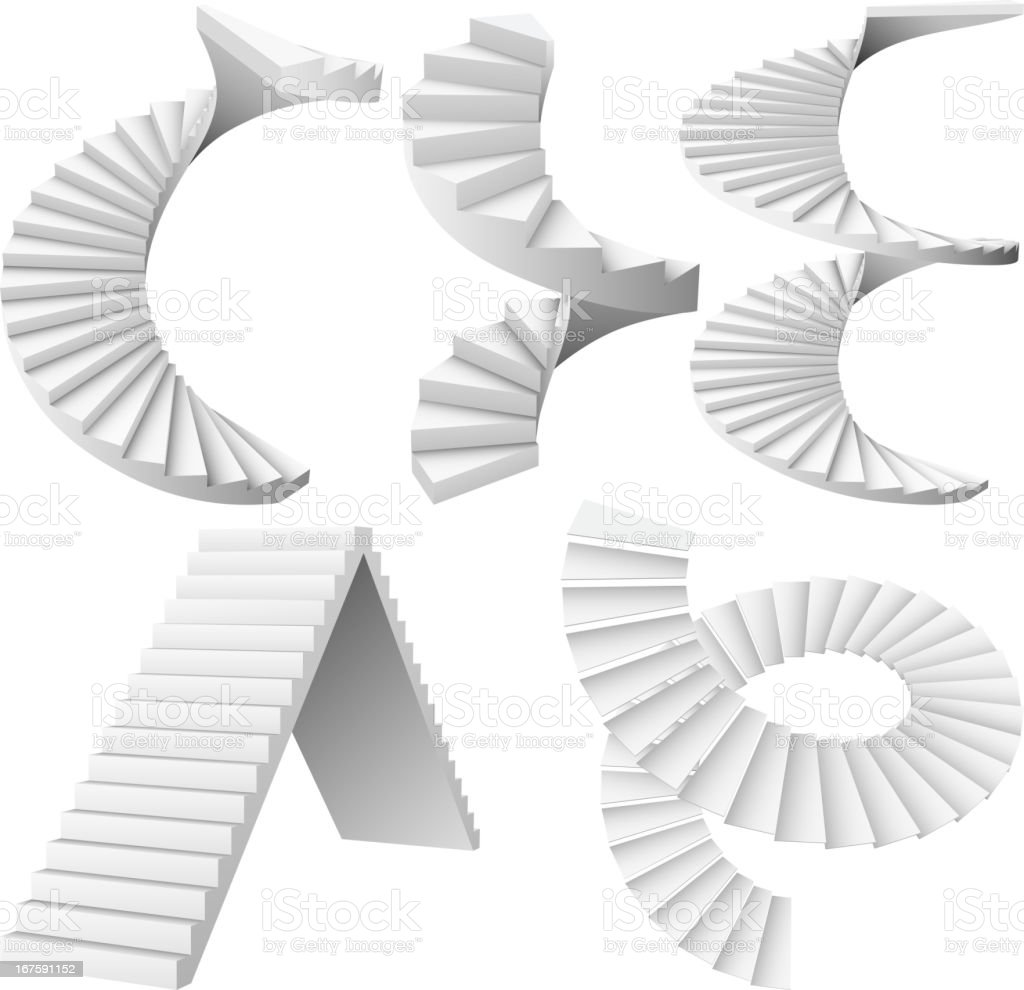 A collection of spiral, winding and straight staircases royalty-free stock vector art