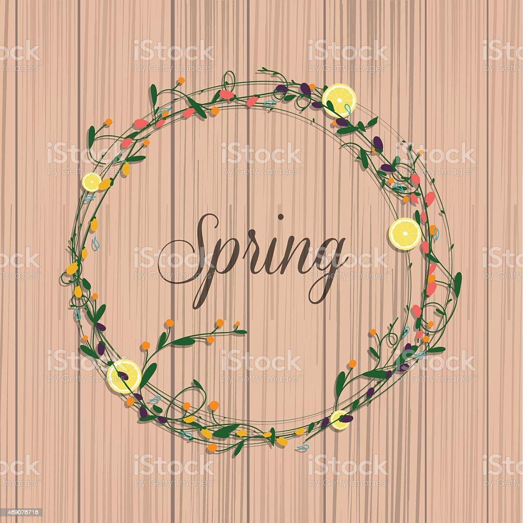Collection of spring flowers, leaves, dandelion, grass. vector art illustration