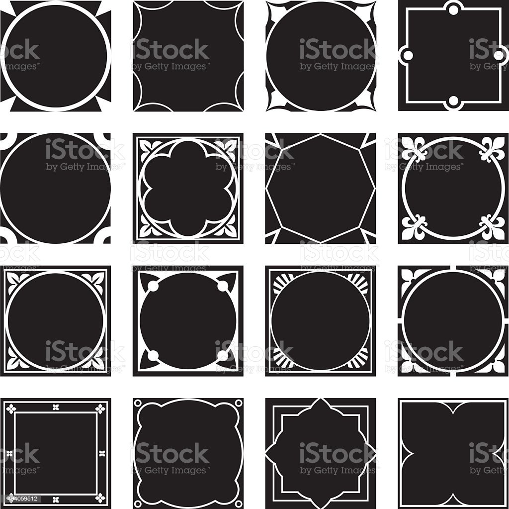 Collection of Square Decorative Border Frames with Solid Filled Background. vector art illustration