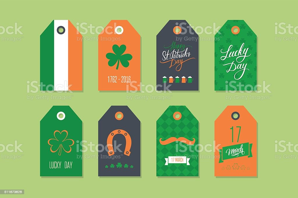 Collection of St. Patrick's Day gift tags and holiday labels. vector art illustration