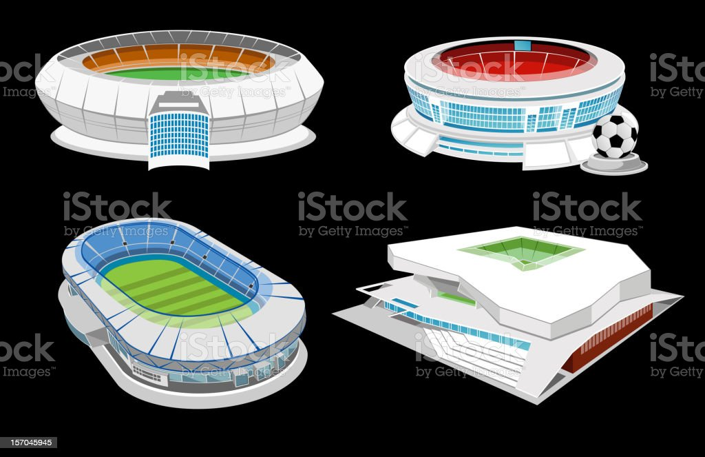 Collection of stadiums vector art illustration