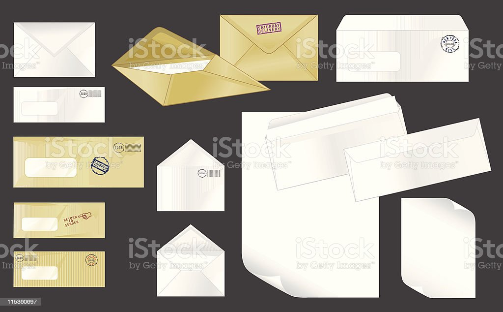 Collection of stamped envelopes vector art illustration