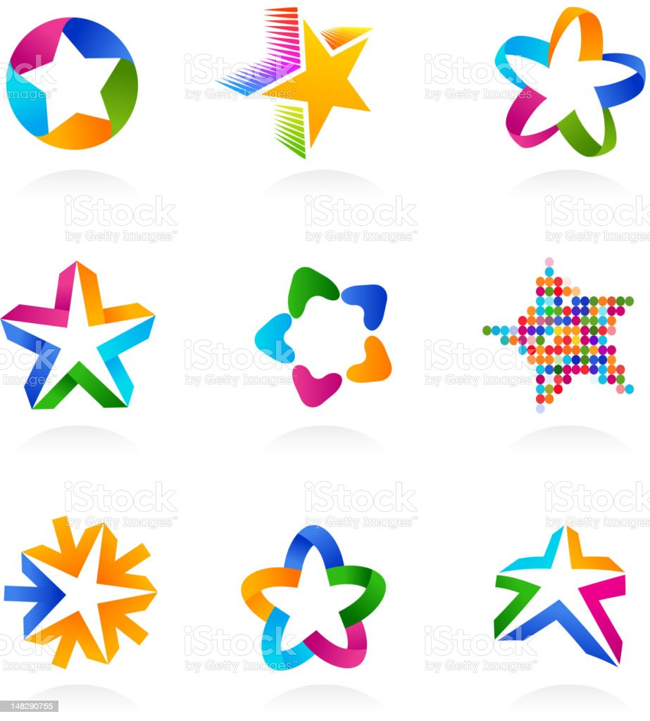 collection of star icons vector art illustration