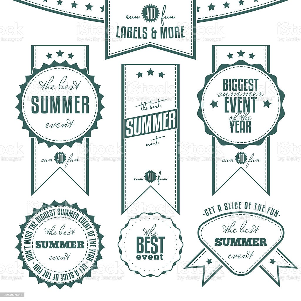 Collection of summer events related vintage labels royalty-free stock vector art