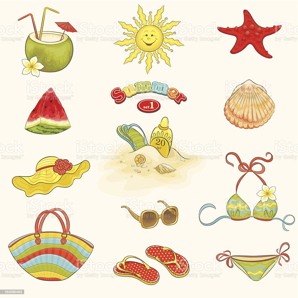 Collection of summer symbols, vector set1. royalty-free stock vector art