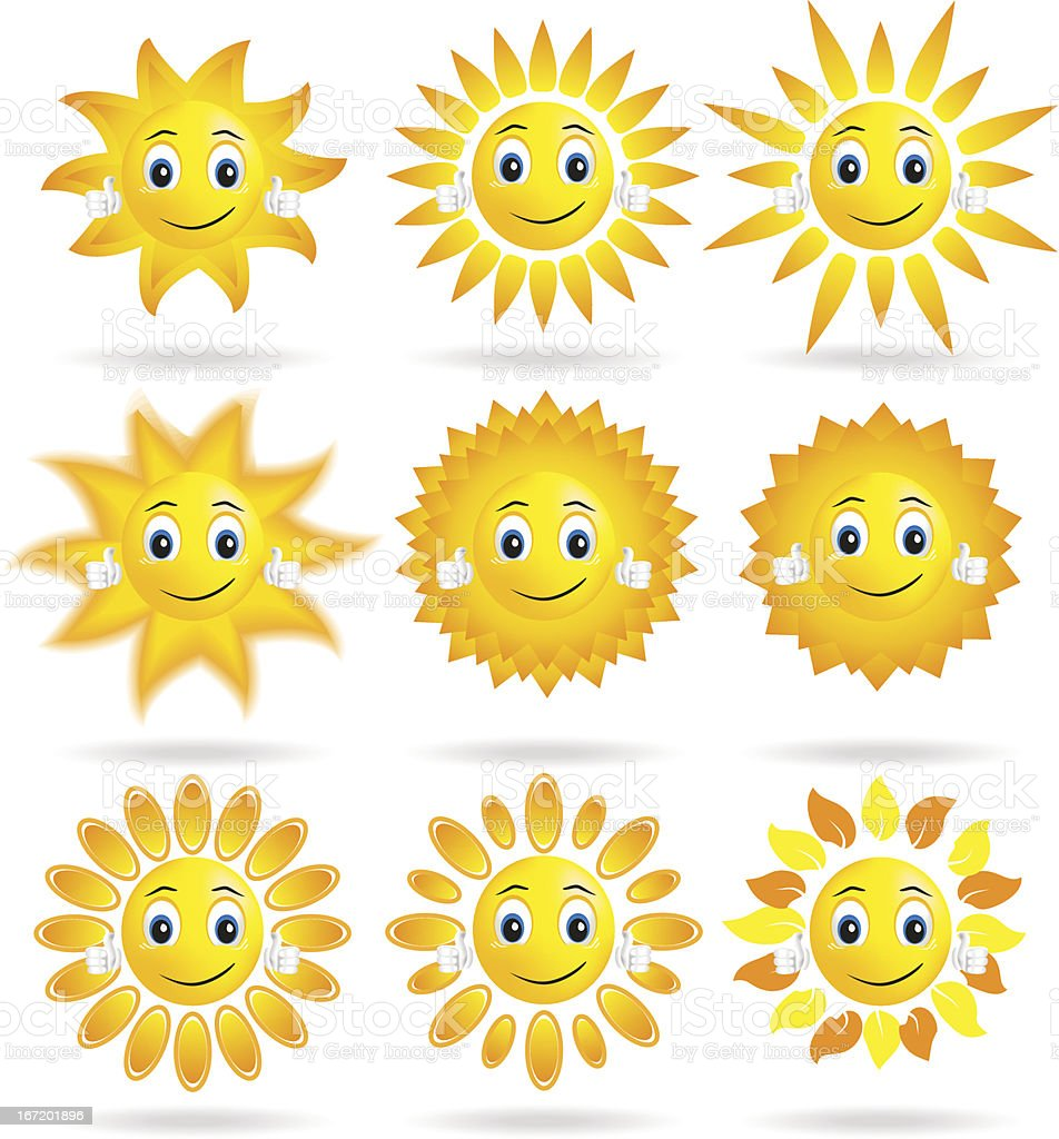 collection of suns royalty-free stock vector art