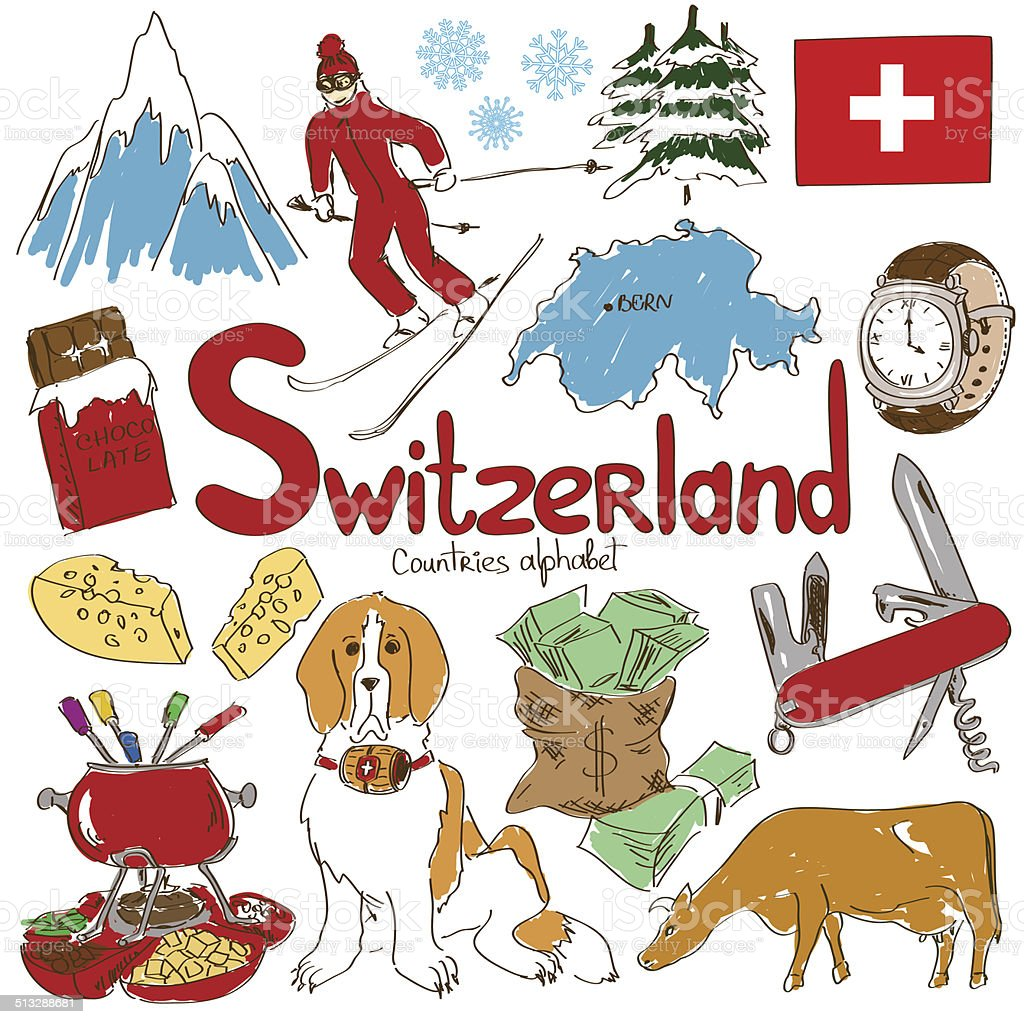 Collection of Switzerland icons vector art illustration