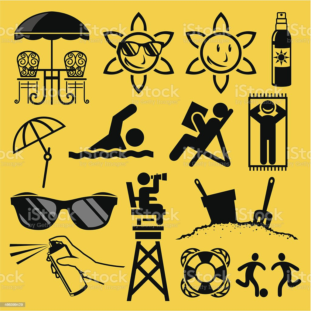 Collection of symbols related to beach on yellow background vector art illustration