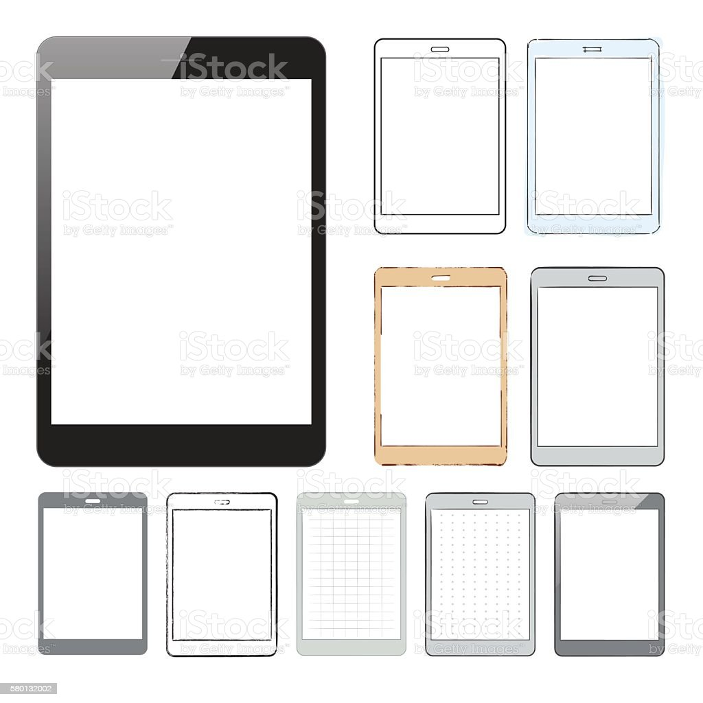 Collection of tablet pc designs and mockups vector art illustration
