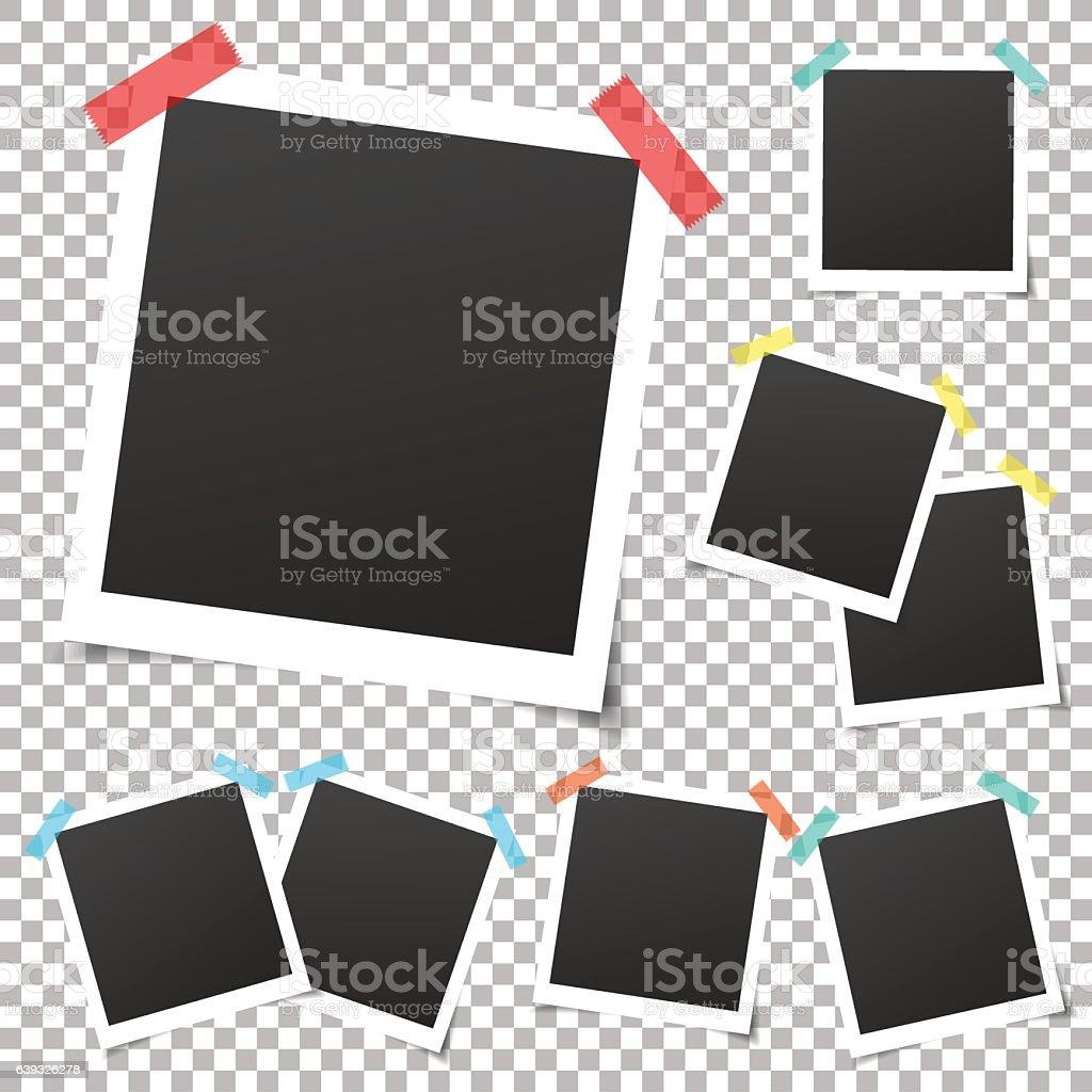 Collection of template photo frames. Mockup photo frame set. vector art illustration