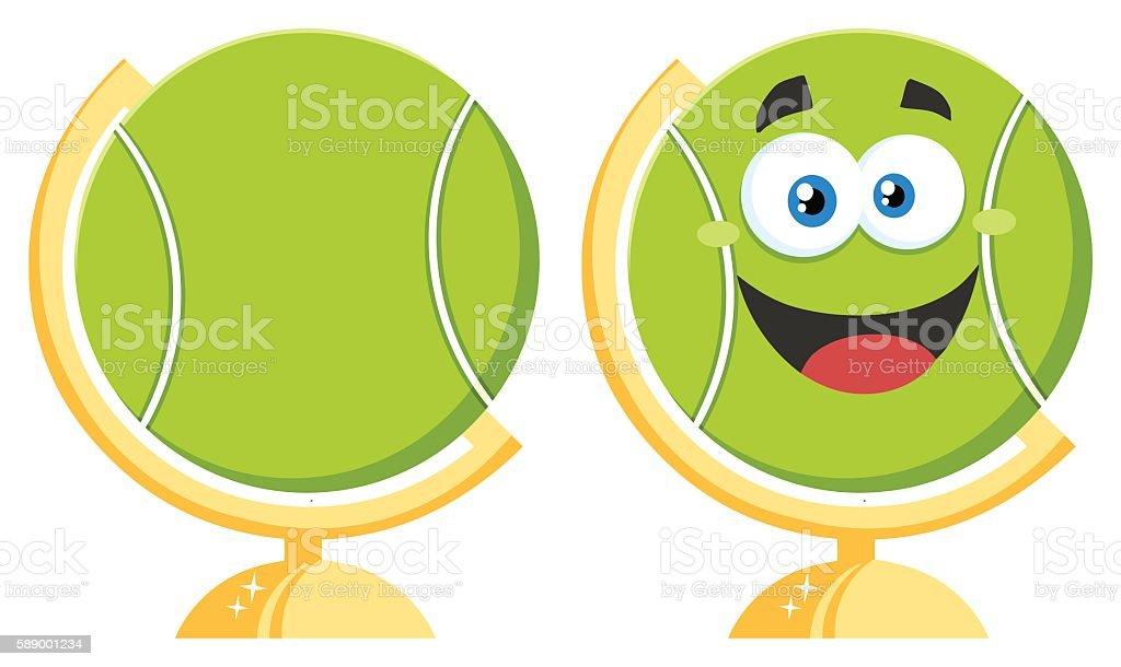 Collection of Tennis Ball Mascot - 2 vector art illustration