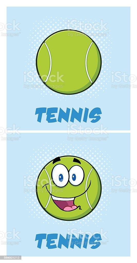 Collection of Tennis Ball Mascot - 3 vector art illustration
